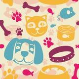 Helles nahtloses Muster mit lustiger Katze und Hund Stockbilder
