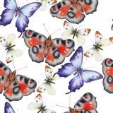 Helles nahtloses Muster mit Schmetterlingen Dekoratives Bild einer Flugwesenschwalbe ein Blatt Papier in seinem Schnabel lizenzfreie stockfotografie