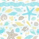 Helles nahtloses Muster mit Seeelementen Stockbilder