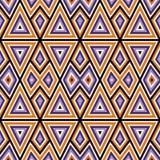 Helles nahtloses Muster mit symmetrischer geometrischer Verzierung Bunter abstrakter Hintergrund Ethnische und Stammes- Motive Lizenzfreie Stockfotografie