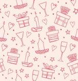 Helles nahtloses Muster Rose mit Geschenken, Kerzen, Becher Endloser dekorativer romantischer Hintergrund mit Kästen Geschenken Stockfoto