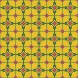 Helles nahtloses nähendes Muster auf einem dunklen gelben Hintergrund Stockfotografie