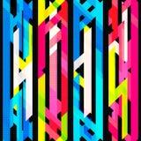 Helles nahtloses Neonmuster mit Schmutzeffekt Stockbild