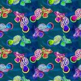 Helles Neon färbt nahtloses Muster der Mandarinenfische auf Türkisozeanoberfläche mit Wellenhintergrund lizenzfreie abbildung