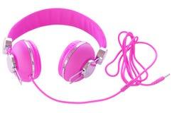 Helles Neon farbige purpurrote weibliche Kopfhörer Lizenzfreie Stockbilder
