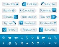 Helles Netz knöpft mit blauen Bookmarks und Ikonen Lizenzfreie Stockfotos