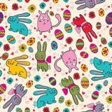 Helles Ostern-Muster mit Kaninchen Stockfotos