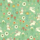 Helles Ostern-Muster mit Kaninchen Lizenzfreies Stockbild