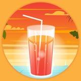 Helles Plakat des Sommers mit einem Getränk am Strandhintergrund stock abbildung
