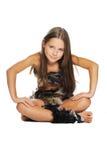 Helles Portrait des kleinen Mädchens kleidete in den Pelzen an Lizenzfreies Stockfoto