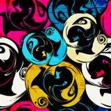 Helles psychedelisches nahtloses Muster der Graffiti auf einer schwarzen Hintergrundvektorillustration Stockbilder
