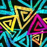 Helles psychedelisches nahtloses Muster der Graffiti auf einer schwarzen Hintergrundvektorillustration Lizenzfreies Stockfoto