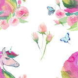Helles reizendes nettes feenhaftes magisches buntes Muster von Einhörnern mit nettem schönem Blumenpastellaquarell des Frühlinges Stockfotografie