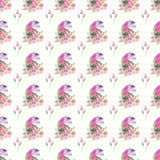 Helles reizendes nettes feenhaftes magisches buntes Muster von Einhörnern mit nettem schönem Blumenpastellaquarell des Frühlinges Stockbild