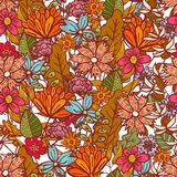 Helles rotes Blumenmuster mit Verwirrung von Blumen stock abbildung