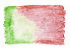 Helles rotes hochrotes und grünes Lindgrün mischte abstrakten Aquarellhintergrund Es ` s nützlich für Grußkarten Lizenzfreie Stockfotos