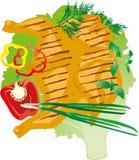 Helles saftiges gegrilltes Huhn auf einem Kopfsalatblatt, Vektorillustration Stockfotografie