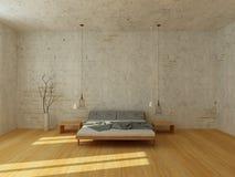 Helles Schlafzimmer in der modernen skandinavischen Art stockfoto