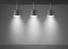 Helles Stadium der dunklen Wand mit dem Vektor mit drei Scheinwerferlichtern Lizenzfreie Stockbilder