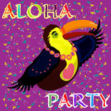 Helles Tukan mit Herzen Aloha Partei Lizenzfreie Stockbilder