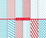 Helles und einfaches Rot und Schatten des blauen Mustersatzes Stockbilder