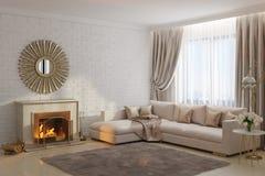 Helles und gemütliches Wohnzimmer mit Kamin und Spiegel Lizenzfreies Stockfoto