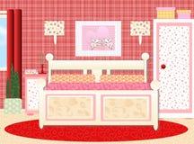 Helles und glückliches Vorlagenschlafzimmer Lizenzfreies Stockbild