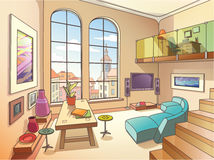Helles Wohnzimmer mit einem Mezzanin Stockfotografie