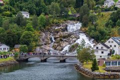 Hellesylt in Norway. Hellesylt is a small village in Stranda Municipality, Norway. The village lies at the head of the Sunnylvsfjorden, which is a branch of the Royalty Free Stock Photography