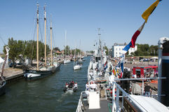 Hellevoetsluis harbor with boats Royalty Free Stock Photography