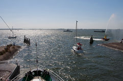 Hellevoetsluis harbor with boats Stock Images