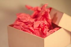Hellfarbiger Kasten mit rosa vorliegendem Papier Lizenzfreie Stockbilder