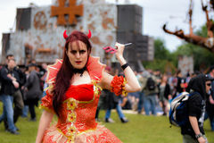 Hellfest Lady Evil, metal festival. Hellfest, also called Hellfest Summer Open Air, is a French music festival specialized in extreme music, held annually in royalty free stock image