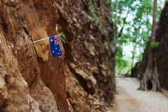 Hellfire Pass. Australian flag embroidered on Hellfire Pass in Kanchanaburi of Thailand,World War 2 Stock Photos