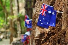 Hellfire Pass. Australian flag embroidered on Hellfire Pass in Kanchanaburi of Thailand,World War 2 Royalty Free Stock Image