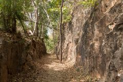 Hellfire Pass hiking trail on the notorious Burma to Thailand death railway. Where thousands of Allied POWs and Asian labourers died during the Second World Royalty Free Stock Images