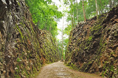 Hellfire Pass. Is in Kanchanaburi, Thailand.  is the name of a railway cutting on the former Death Railway in Thailand which was built with forced labour during Royalty Free Stock Images