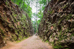 Hellfire Pass ,a railway cutting on the former Death Railway Royalty Free Stock Image