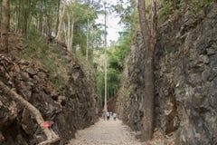 Hellfire passerar på den beryktade Burman till den Thailand dödjärnvägen, var tusentals förbundna POWs dog under världskrig 2 Arkivbild