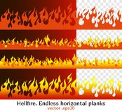 Hellfire, red flame elements for the endless border. Hellfire endless horizontal planks. Red fire bars, old school flame elements for the endless border Royalty Free Stock Image