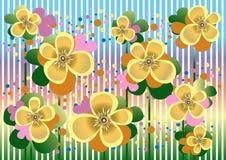 Hellgelbe Blumen in einem bunten Hintergrund. Karten Stockbild