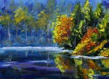 Hellgrüne Bäume werden im Wasser reflektiert Landschaft ist Sommer auf dem Wasser nave Flussbank Landwirtschaftliche Landschaft U lizenzfreie abbildung