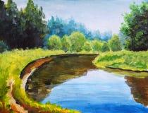 Hellgrüne Bäume werden im Wassermeer reflektiert Landschaft ist Sommer auf Wasser nave Flussbank Landwirtschaftliche Landschaft U stock abbildung