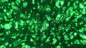Hellgrüne E-Mail und Netz lizenzfreie abbildung