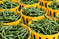 Hellgrüne Körbe von frischen grünen Bohnen am Markt Lizenzfreies Stockfoto