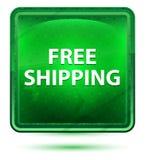 Hellgrüner quadratischer Neonknopf des kostenlosen Versands lizenzfreie abbildung