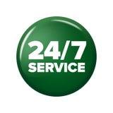 Hellgrüner runder Knopf mit Wörter ` 24/7 Service ` Lizenzfreie Stockfotos
