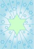 Hellgrüner Stern auf einem hellblauen Hintergrund Stockfoto