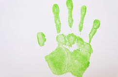 Hellgrünes handprint Lizenzfreie Stockfotografie