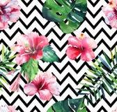 Hellgrünes tropisches Hawaii-Blumensommerkräutermuster von tropische Palmblätter und tropische rosarote violette blaue Blumen Stockfotos